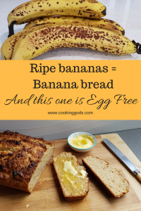 Delicious Banana bread that is egg free. It contains covconut which really gives it a great moist texture.