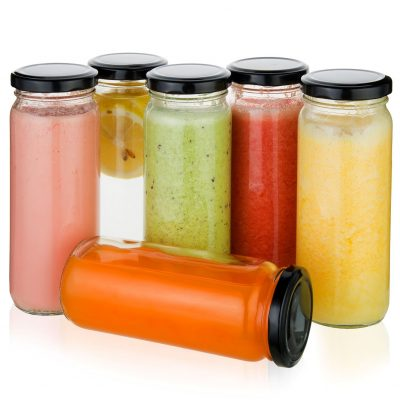 juice jars with smoothies